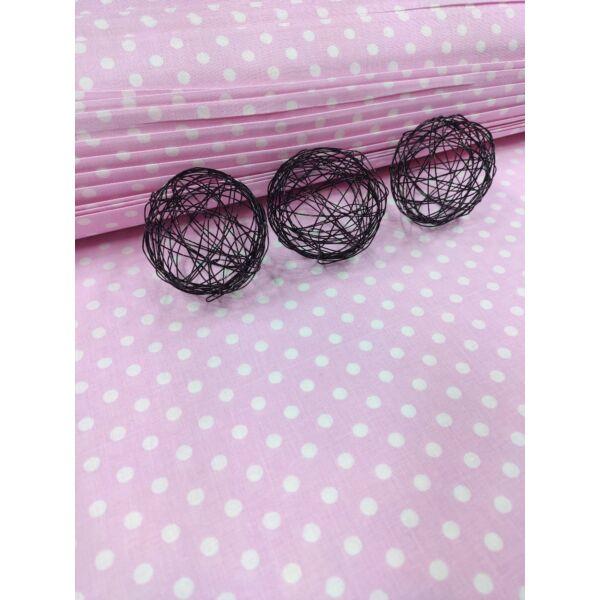 mintás pamutvászon /rózsaszín-fehér pöttyös 6mm