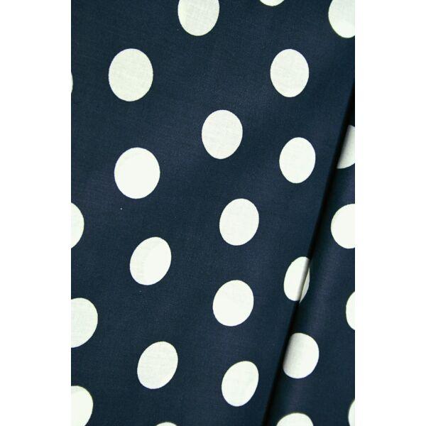 Mintás pamutvászon /sötétkék-fehér pöttyös 26mm(Félméter)