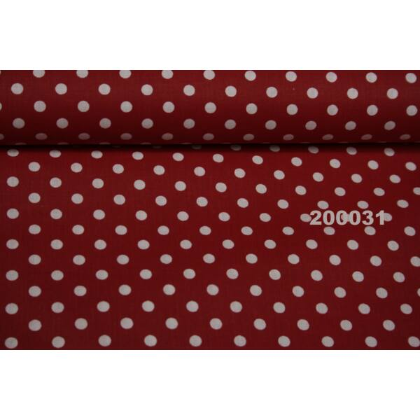 mintás pamutvászon /piros-fehér pöttyös 6mm