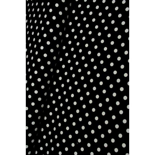 Vászon fekete-fehér pöttyös 6mm