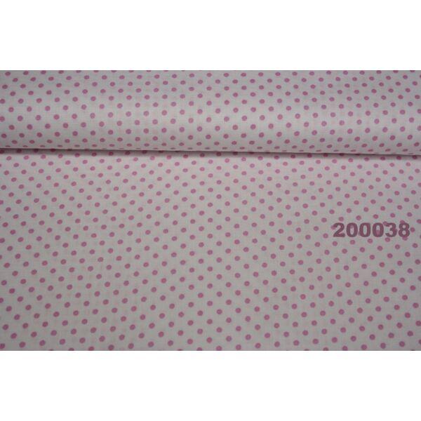 Vászon fehér-rózsaszín pötty 2mm