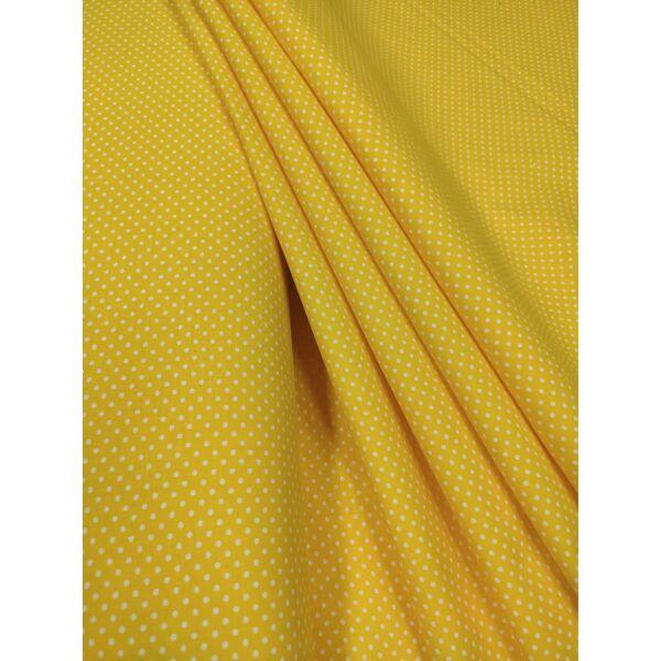 mintás pamutvászon /citrom sárga-fehér pöttyös 2mm