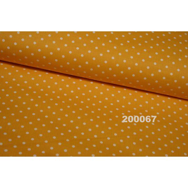 Vászon napsárga-fehér pöttyös 5mm