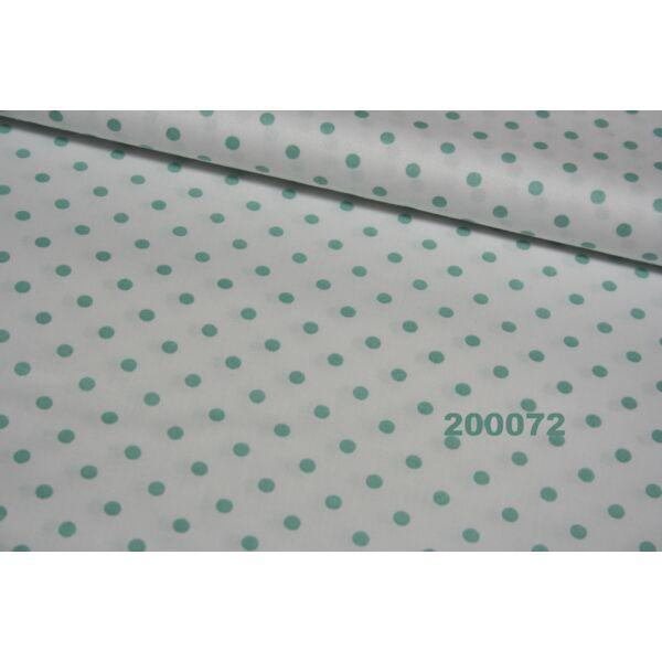 Vászon fehér-babazöld pöttyös 5mm