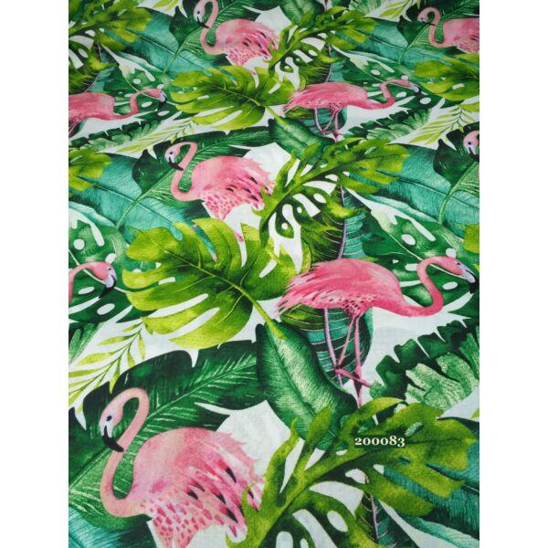Mintás pamutvászon /flamingó (14cm*19,5cm) pálmalevelekkel