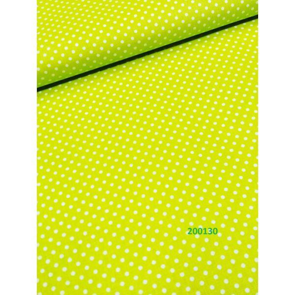 mintás vászon /zöld -fehér pötty 2mm (FÉLMÉTER)