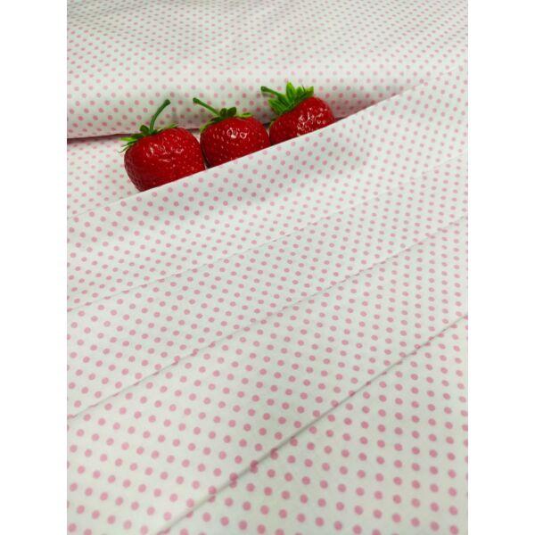 mintás pamutvászon /rózsaszín pöttyös 2mm /fehér