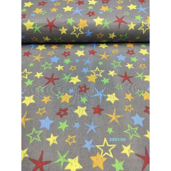mintás pamutvászon /színes csillagok (tömör, kicsi, sárga 2cm) /szürke