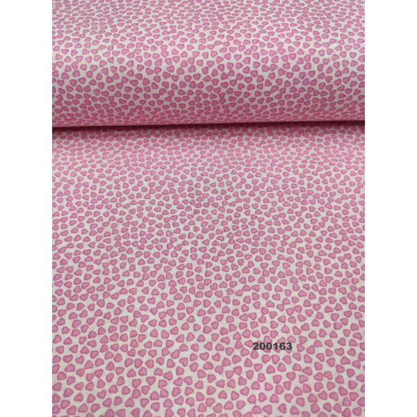 mintás pamutvászon / rózsaszín apró szívecskék /fehér