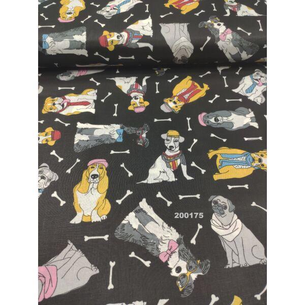mintás pamutvászon /kutyák sállal-nyakkendővel (Mopsz rózsaszín sállal 9cm × 6.5cm) /fekete