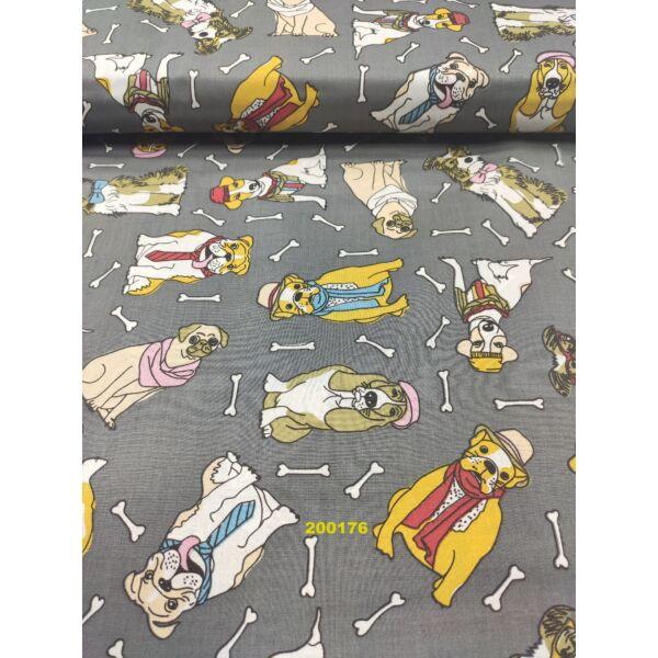 mintás pamutvászon / kutyák sállal-nyakkendővel (Mopsz rózsaszín sállal 9cm × 6.5cm) /szürke