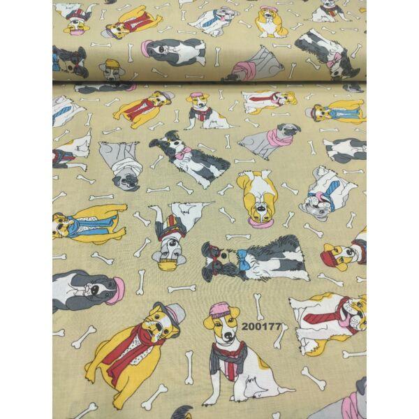 mintás pamutvászon / kutyák sállal-nyakkendővel (Mopsz rózsaszín sállal 9cm × 6.5cm) /drapp