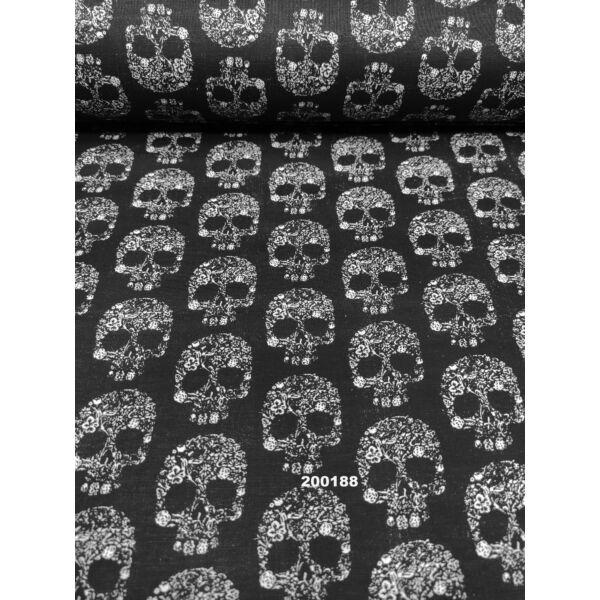 mintás pamutvászon / koponya fehér virággal (4.5cm × 3.5cm) /fekete