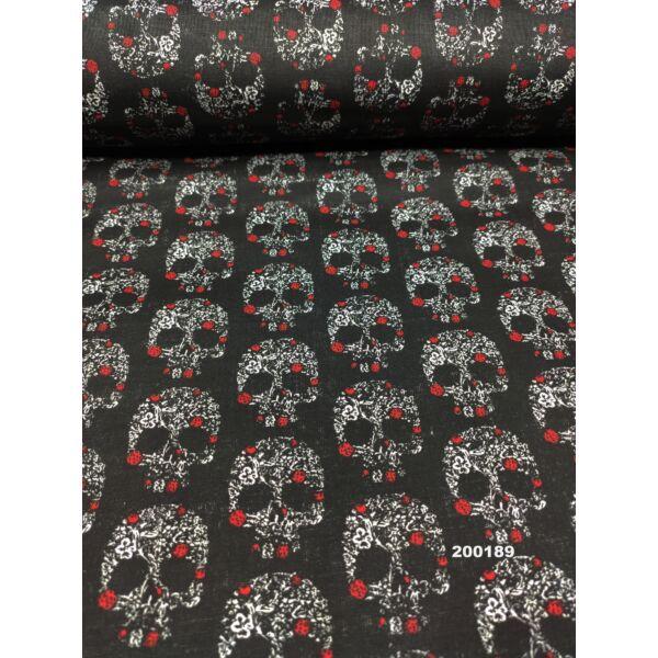 mintás pamutvászon /koponya piros virággal (4.5cm × 3.5cm) /fekete