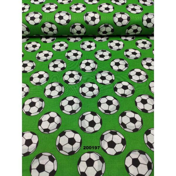 mintás pamutvászon /focilabdák (labda 4cm) /fűzöld