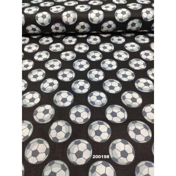 mintás pamutvászon /focilabdák (labda 4cm) /fekete