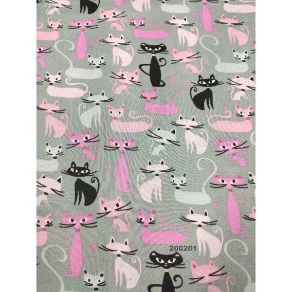 mintás pamutvászon /fekete-rózsaszín cicák /szürke