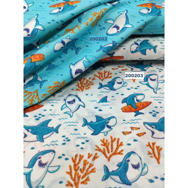 mintás pamutvászon /vidám cápák (szörföző cápa 7cm × 7.5cm)