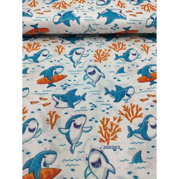mintás pamutvászon /vidám cápák (szörföző cápa 7cm × 7.5cm) /fehér