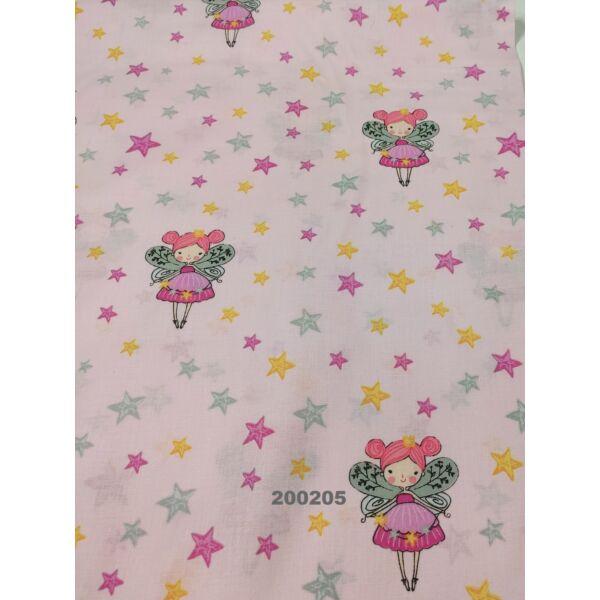mintás pamutvászon /tündér csillagokkal (tündér 7.5cm × 9.5cm) /rózsaszín