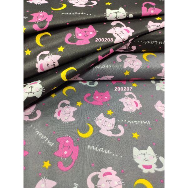 mintás pamutvászon /éjszakai cicák (pink cica 6.5cm × 4.5cm)