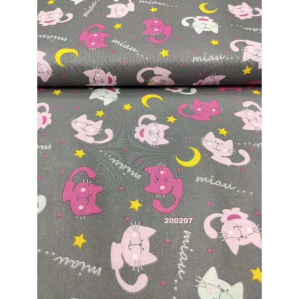 mintás pamutvászon /éjszakai cicák (pink cica 6.5cm × 4.5cm) /szürke