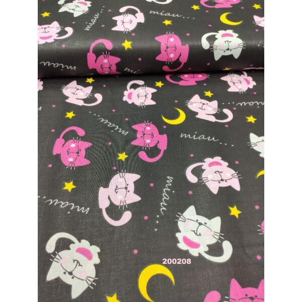 mintás pamutvászon /éjszakai cicák (pink cica 6.5cm × 4.5cm) /fekete