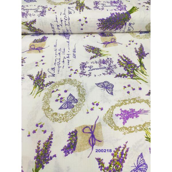 mintás pamutvászon /levendulák és pillangók (Walt Whitman versrészlet 15cm × 6.5cm) /fehér