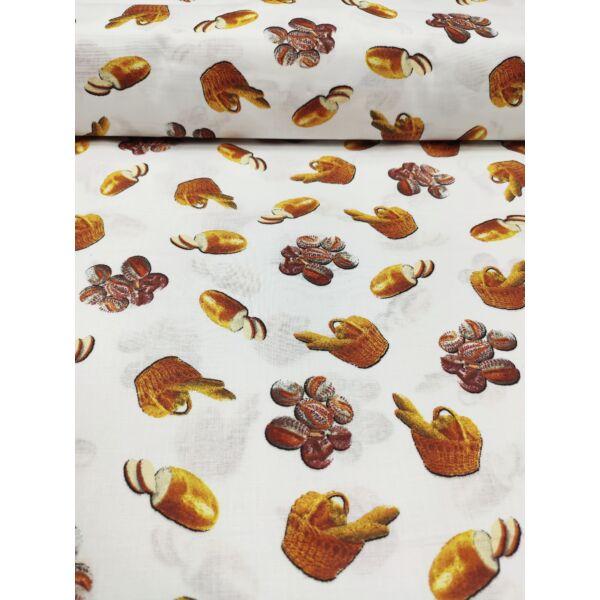 mintás pamutvászon /pékséges (kenyereskosár 3,8cm*4,2cm) /fehér