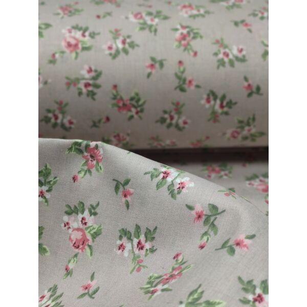 mintás pamutvászon /mályva rózsák (egy csokor 3cm×3cm) /taupe