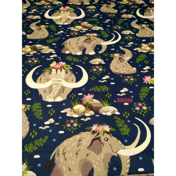 mintás vászon /mammut család (kismammut 11cm*6,5cm) /sötét kék