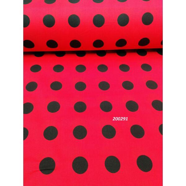mintás pamutvászon /pöttyös /24 mm piros-fekete