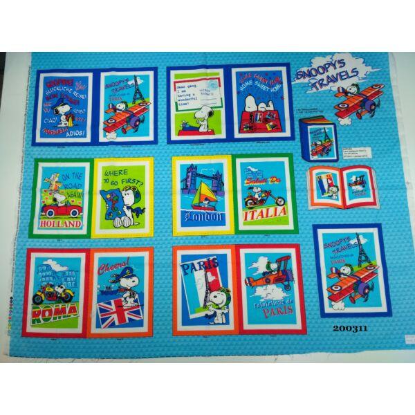 Csendeskönyv lapjai /pamut vászon -utazó Snoopy