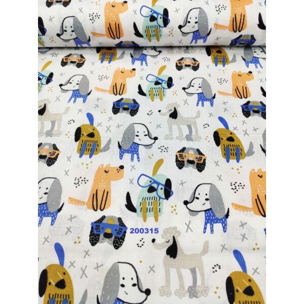 mintás vászon /mókás kutyusok (mustár 4,3cm*6cm)
