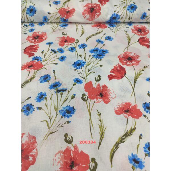 Mintás pamutvászon /pipacs, búzavirág (nagy pipacs 6,5 cm*6,3 cm)