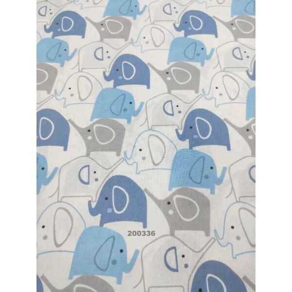 mintás pamutvászon /elefántok (6 cm*4,7 cm) /kék