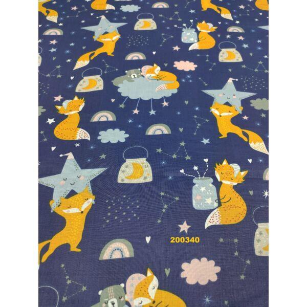 mintás vászon/ éjszaka alvó rókák (csillag 9cm)/ sötétkék