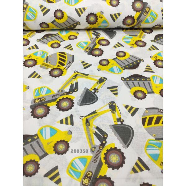 mintás pamutvászon /munkagépek (mixer 10cm*13cm) /sárga