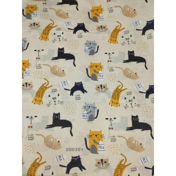 mintás vászon/ szines cicák (fekete 13cm*10cm)/ beige