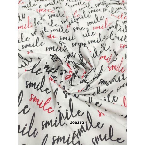 mintás pamutvászon /smile felirat (6cm*3cm)/ fehér