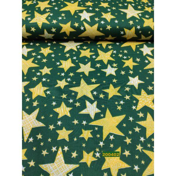 kevertszálas mintás vászon / sárga csillagok( írásos 4,5cm*4cm)/ zöld