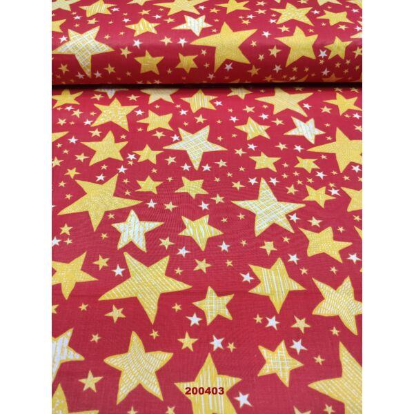kevertszálas mintás vászon / sárga csillagok( írásos 4,5cm*4cm)/ piros