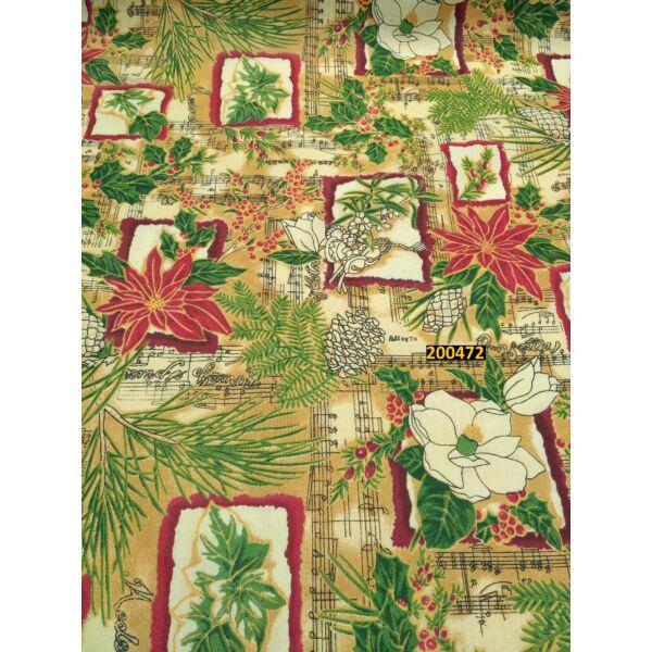 mintás vászon /mikulásvirág-kotta (fagyöngy 4,5cm*3,5cm) /drapp