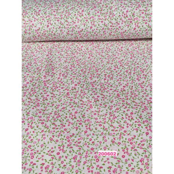 mintás vászon/ rózsaszín szirmú kisvirág