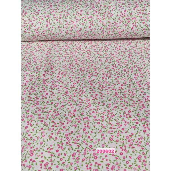 mintás pamutvászon /rózsaszín szirmú kis virág