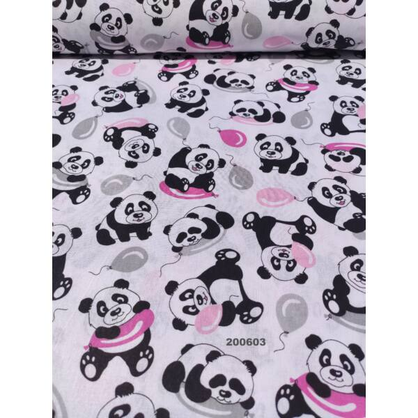 mintás vászon/ lufis panda (alvó 6,4cm*4cm)