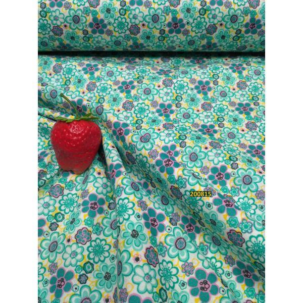 pamutvászon kicsi- nagy virágokkal-türkiz