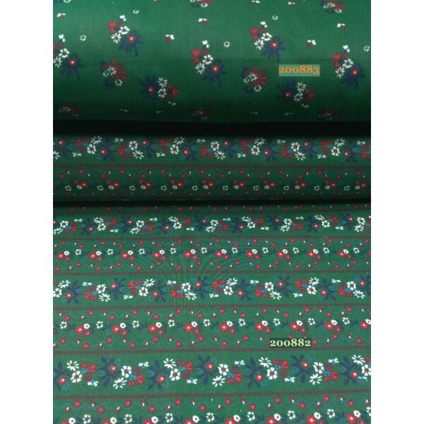 Mintás vászon /sötét zöld apróvirágos