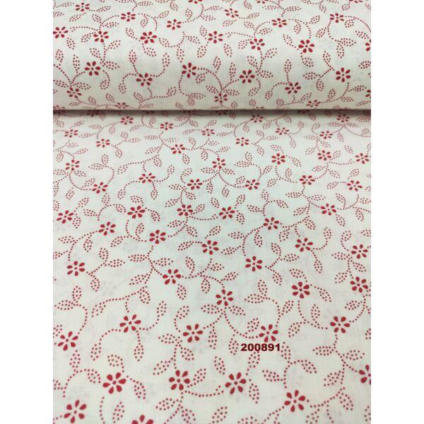 mintás pamutvászon /6 szirmú virág/fehér-piros