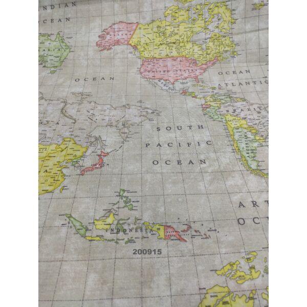 Mintás pamutvászon /térkép/ drapp